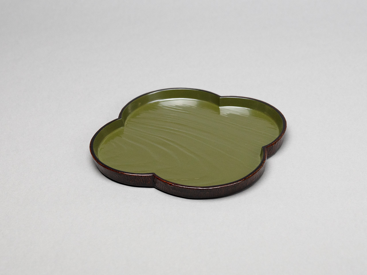 Green Lacquer Bark Confection Tray