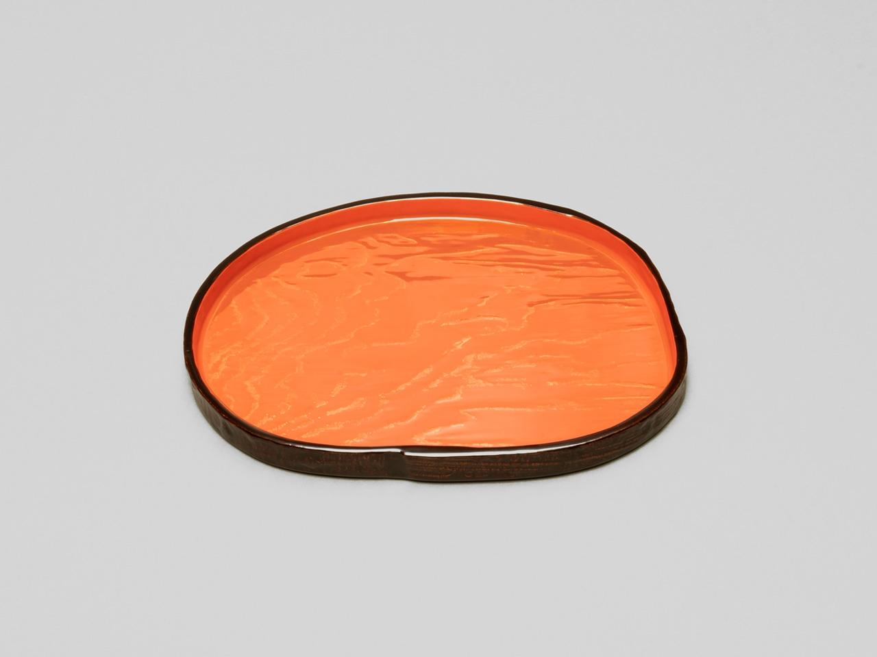 金彩波文 木皮菓子盆