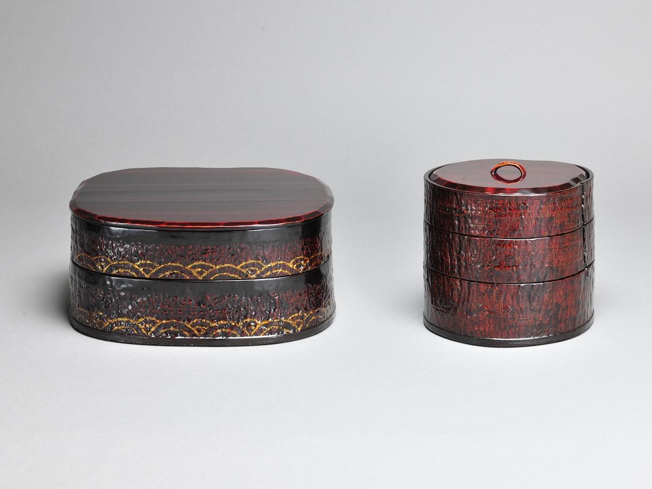 青海波文木皮二段重箱 / くるみ手木皮三段重箱