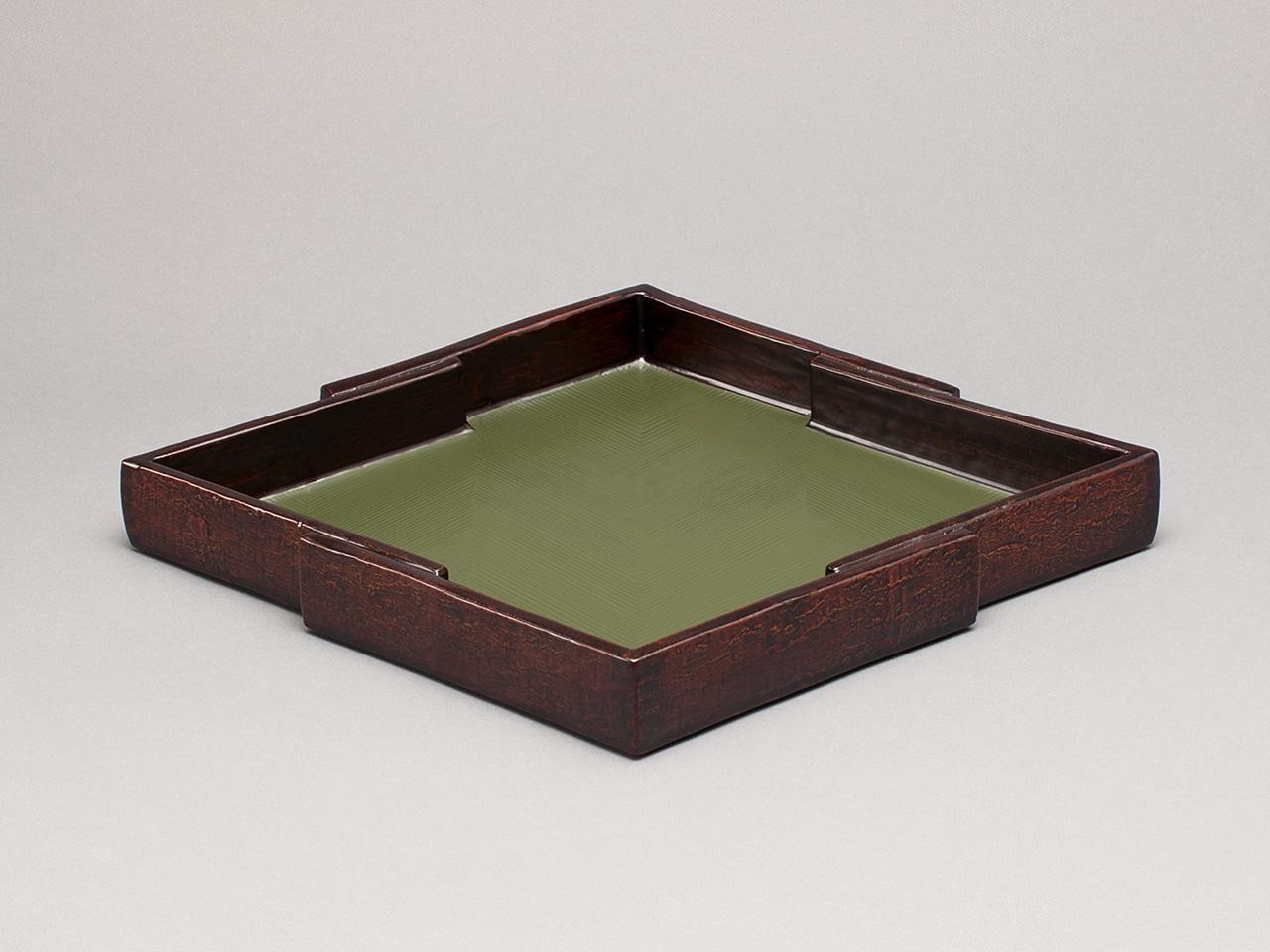 松皮菱 緑漆木皮菓子盆