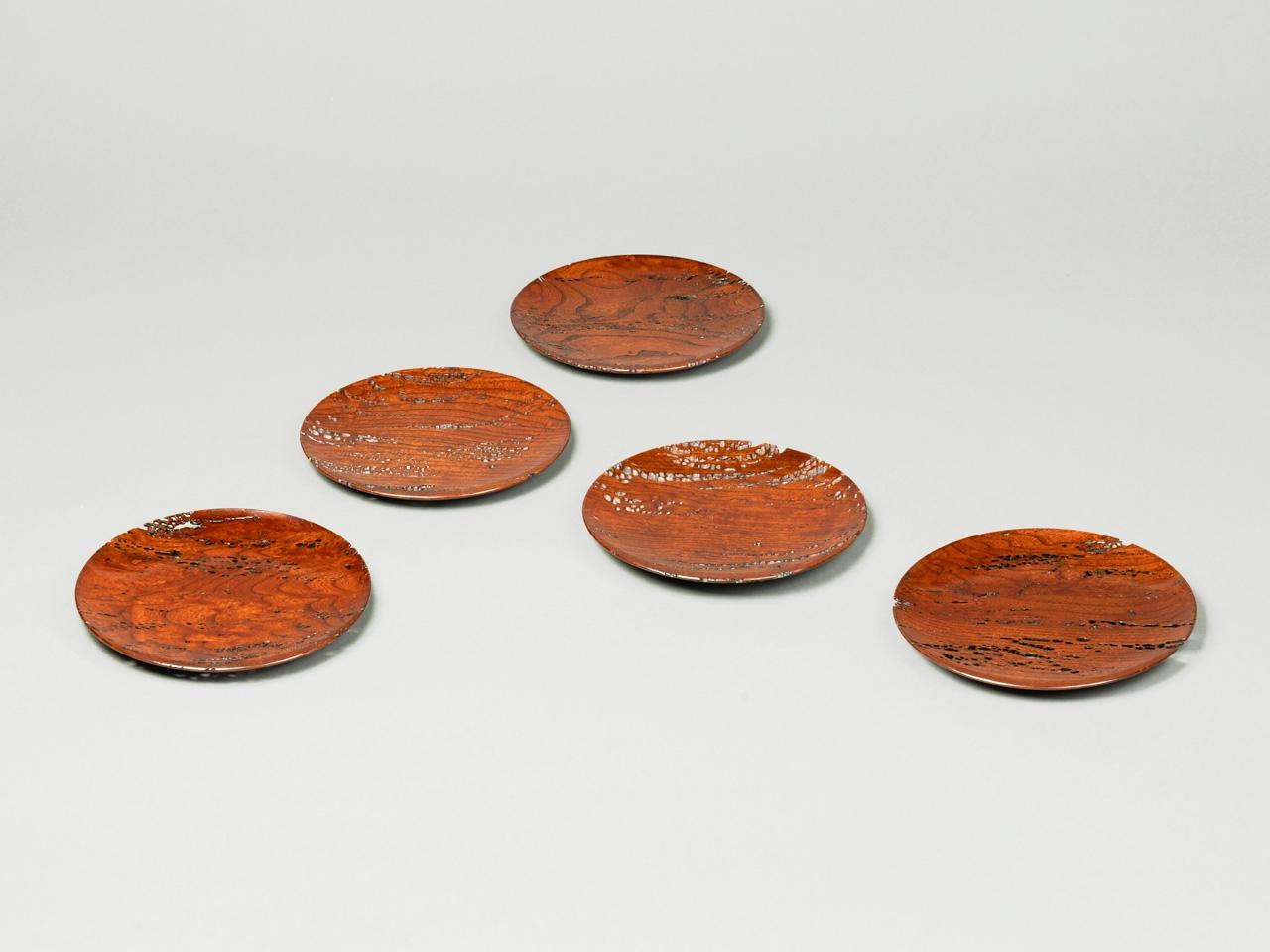 欅針杢 銘々皿